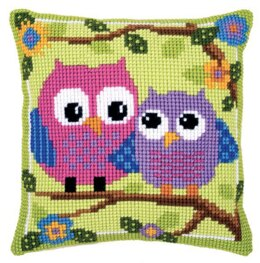 Vervaco Owls on a Branch Cushion Front Chunky Cross Stitch Kit