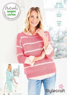 Cardigan and Sweater in Stylecraft Naturals Bamboo & Cotton DK - 9753 - Downloadable PDF