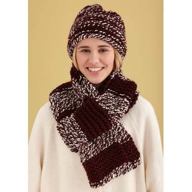 Simple Knit Hat And Scarf In Lion Brand Wool Ease Thick Quick
