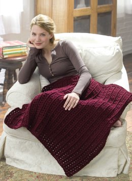Crochet One-Skein Lap Throw in Red Heart Comfort - 928.0627