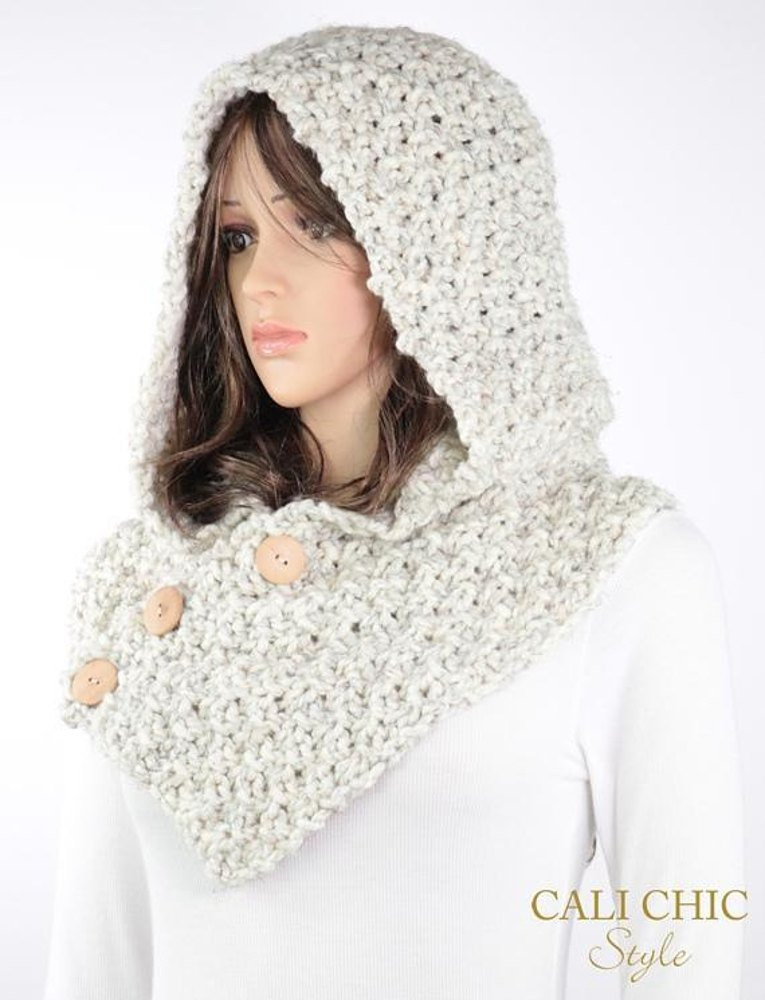 Elena Knit Hooded Cowl #804 Knitting pattern by Cali Chic Style