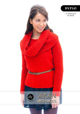 Cowl-Neck Sweater in DY Choice Aran With Wool - DYP143