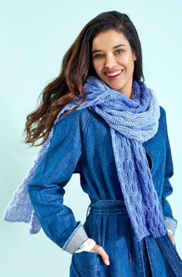 Basketweave Knit Scarf in Red Heart Sugar Saver Ombre - LM5623