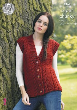 Sweater and Waistcoat in King Cole Big Value Super Chunky - 4362 - Downloadable PDF