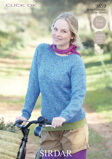 Knitting Patterns Ladies Jumpers Double Knit : Easy Knit Jumper in Sirdar Click DK - 9859