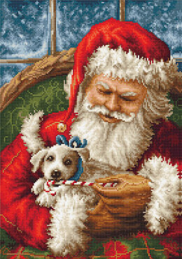 Luca-S Santa Claus and Puppy Petit Point Tapestry Kit