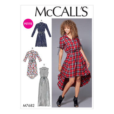 McCall's Misses'/Miss Petite Shirtdresses with Drawstring Waist M7682 - Sewing Pattern