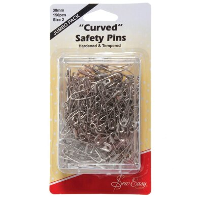 Sew Easy Curved Safety Pins 38mm Pack of 150