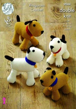 Amigurumi Crocheted Dogs Toys in King Cole Merino Blend DK - 9044 - Leaflet