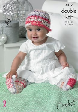 Crochet Hat, Scarf, Shoes, Socks and Blanket in King Cole Cherished DK and Cherish DK - 4419 - Leaflet