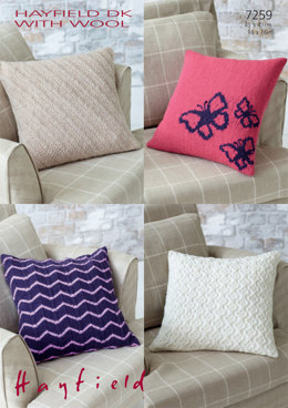 Knitted Cushion Covers in Hayfield DK with Wool - 7259 - Downloadable PDF