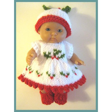 "5"" Berenguer Dolls Clothes Pattern Holly Dress"