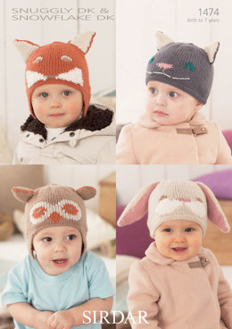 Animal Hats in Snuggly DK and Snowflake DK - 1474
