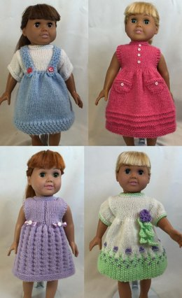 Days of the Week Dresses, Book 2 - Knitting Patterns fit American Girl and other 18-Inch Dolls