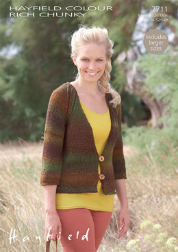 Cardigan in Hayfield Colour Rich Chunky - 7711