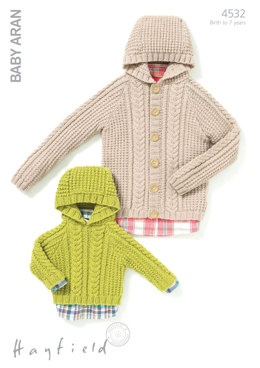Hooded Jacket and Sweater in Hayfield Baby Aran - 4532 - Downloadable PDF