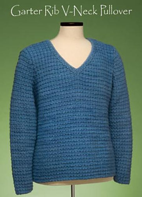 V Neck Knitting Pattern : Garter Rib V-Neck Pullover #162 Knitting pattern by Sue McCain Knitting Pat...