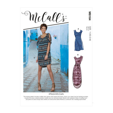 McCall's RobinMcCalls - Misses' Pullover Dresses With Sleeve Ties, Pocket Variations & Belt M8164 - Sewing Pattern