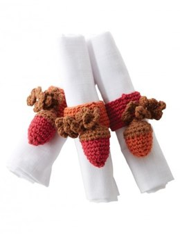 Autumn Acorns Napkin Rings in Bernat Handicrafter Holidays - Downloadable PDF