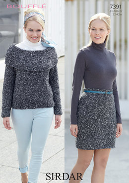 Skirt and Sweater in Sirdar Bouffle  - 7391 - Downloadable PDF