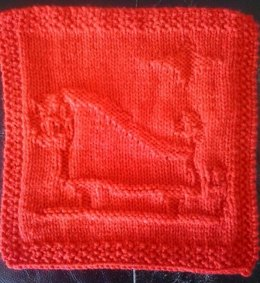Santas Sleigh Knitted Dishcloth