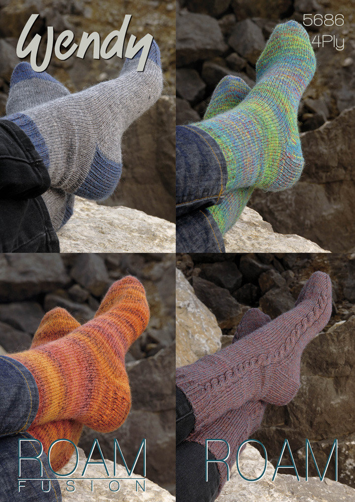 Socks in Wendy Roam and Roam Fusion 4 Ply - 5686 | Knitting Patterns ...
