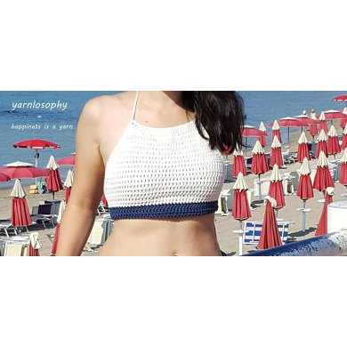 White and blue crop top