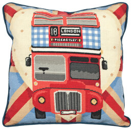 Anchor Red Bus on Union Jack Tapestry Cushion Front Kit - 40 x 40 cm
