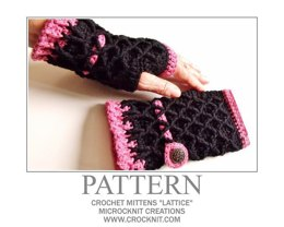 "Crochet Mittens ""LATTICE"""