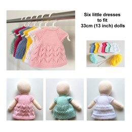 Dolls knitted dresses six different designs 19036