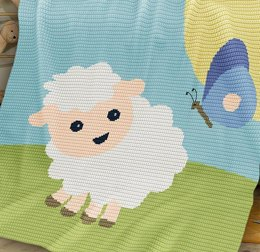 CROCHET Baby Blanket / Afghan - Sheep and Butterfly