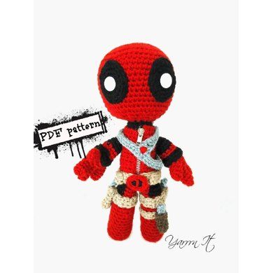 Deadpool doll Crochet pattern by Yarrrn It by Luciana Caro Strickanleitunge...