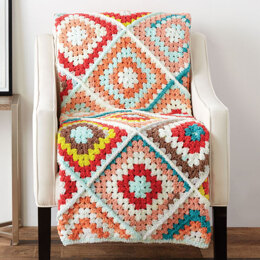Random Granny Crochet Afghan in Bernat Blanket Breezy - Downloadable PDF