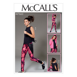McCall's Misses' Hooded Jacket, Crossover-Back Tops, and Leggings M7663 - Sewing Pattern