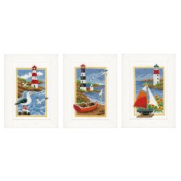 Vervaco Lighthouse Miniature Cross Stitch Kit (3 pcs) - 8cm x 12cm