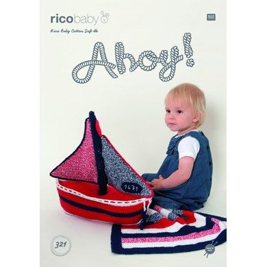 Boat and Stripey Blanket in Rico Baby Cotton Soft DK - 321