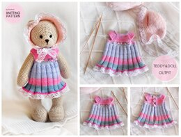 Teddy Bear and Doll Clothes: Dress and Bonnet