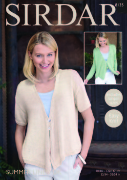 Cardigans with Draped Fronts in Sirdar Summer Linen DK - 8135 - Downloadable PDF