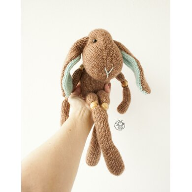 Bunny toy ( beads jointed ) knitted flat