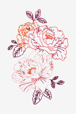Pink Peonies in DMC - PAT0338 -  Downloadable PDF