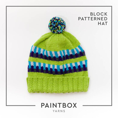 Block Patterned Hat - Free Hat Knitting Pattern in Paintbox Yarns Wool Worsted - Free Downloadable PDF