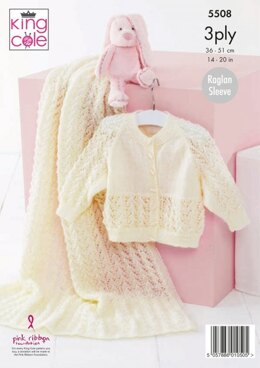 Baby Cardigan and Blanket in King Cole Big Value Baby 3Ply - 5508 - Leaflet
