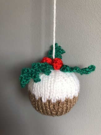 Christmas Pudding Bauble Knitting Project By Angela M Loveknitting