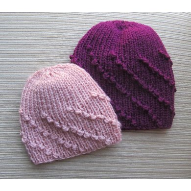Hat in Diagonal Bobbles Rib in Sizes 9-12 Months and Adult