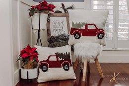 Farmhouse Truck Knit Pillow Cover