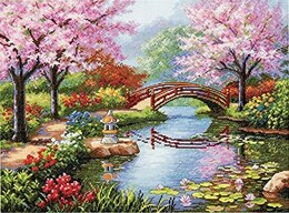 Dimensions Japanese Garden Cross Stitch Kit - 40.5 x 30.5cm