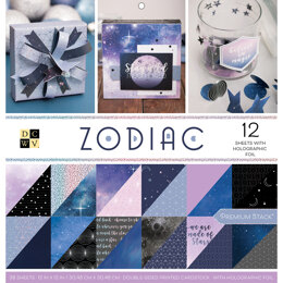 """American Crafts DCWV Double-Sided Cardstock Stack 12""""X12"""" 36/Pkg - Zodiac, 18 Designs/2 Each, 12 W/Foil"""
