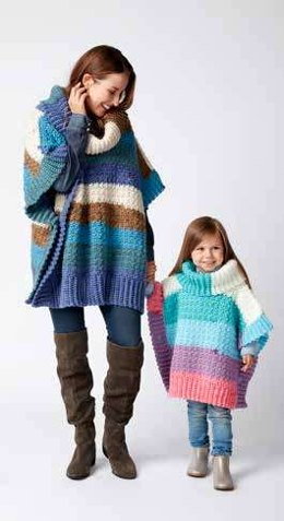 Mom and Me Crochet Ponchos in Bernat Pop! - Downloadable PDF