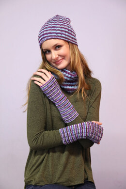 Hat, Cowl, & Mitts  in Plymouth Yarn Andes Sock - 3287 - Downloadable PDF