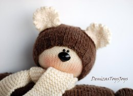 Waldorf knitted Bear doll for small babies